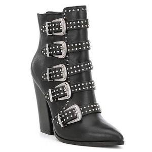 Steve Madden Comet Leather Black Buckled Boots